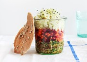 Layered Salad in a Jar with Quick Flatbread