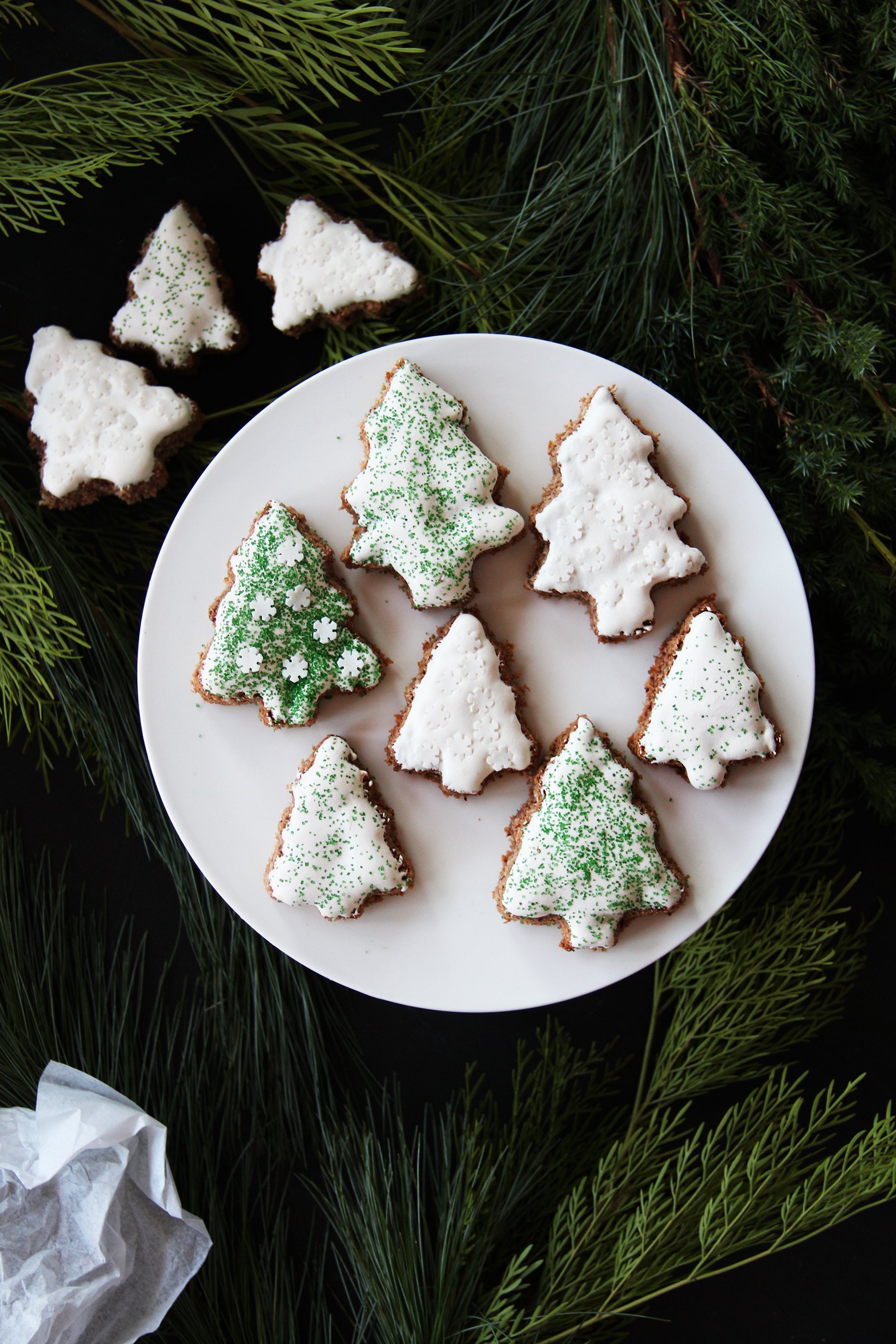glazed frosted spinkled christmas tree cookies
