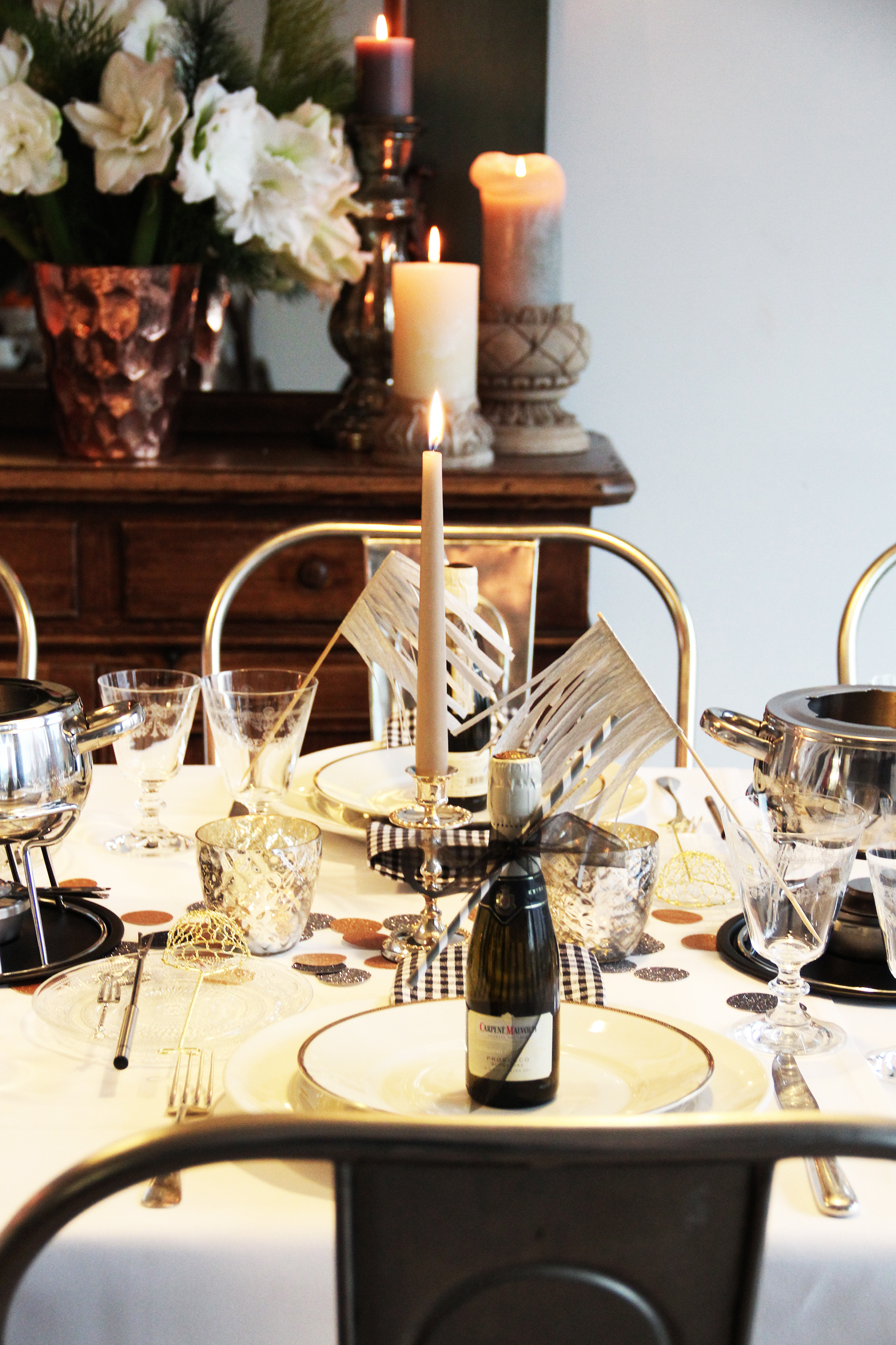 silver gold table setting