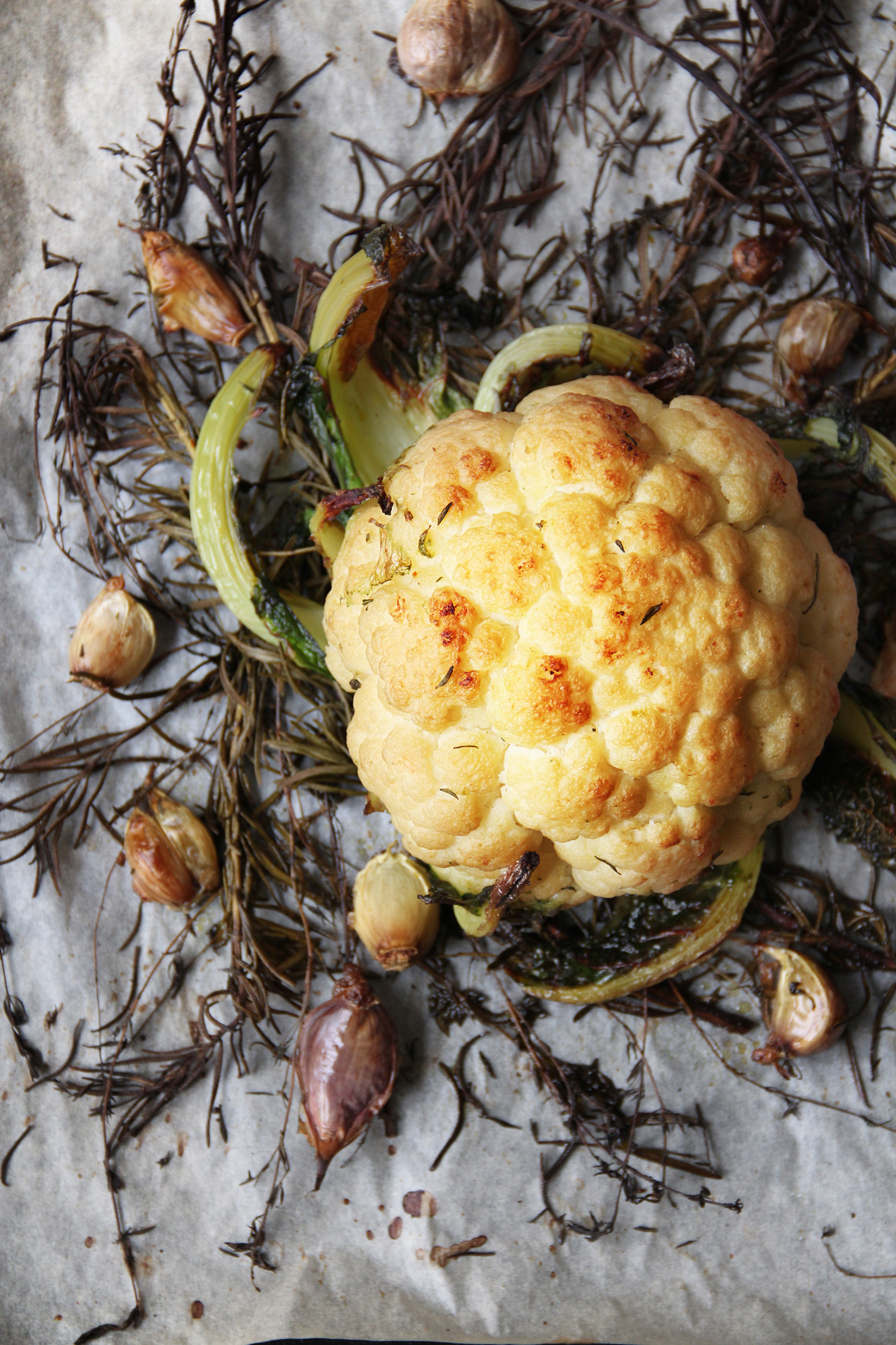 whole cauliflower roasted with herbs