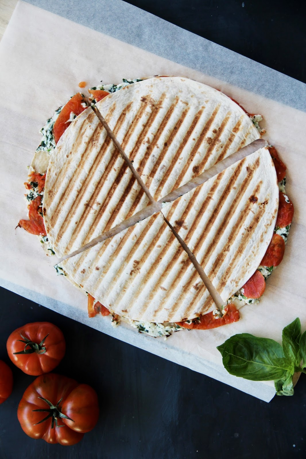 Grilled Ricotta Tomato Quesadillas