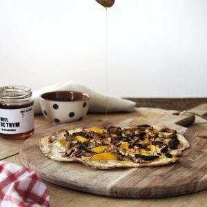 Flammkuchen with Goat's Cheese, Butternut & Shiitake