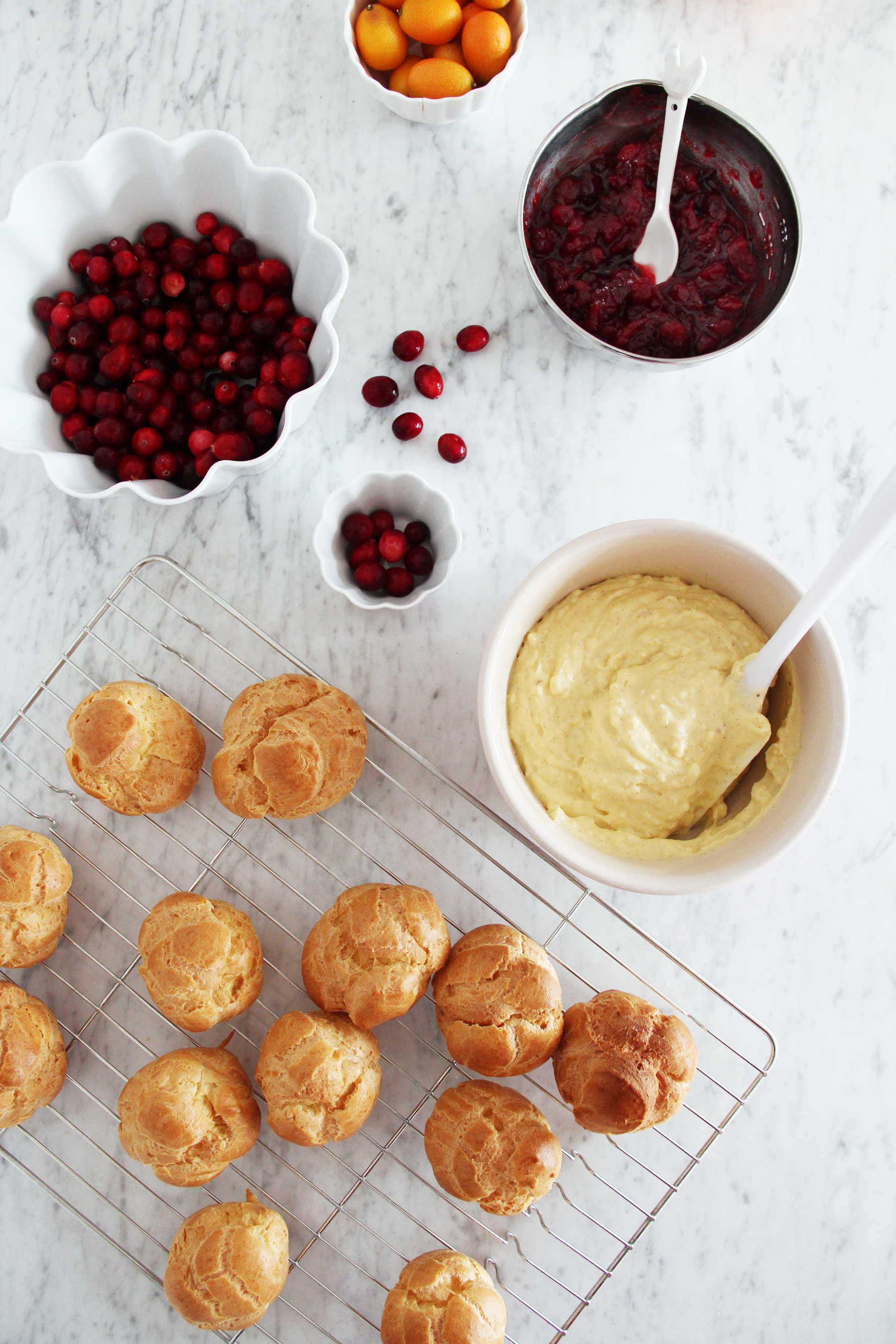 choux pastry profiterole eclaires with vanilla and cranberry