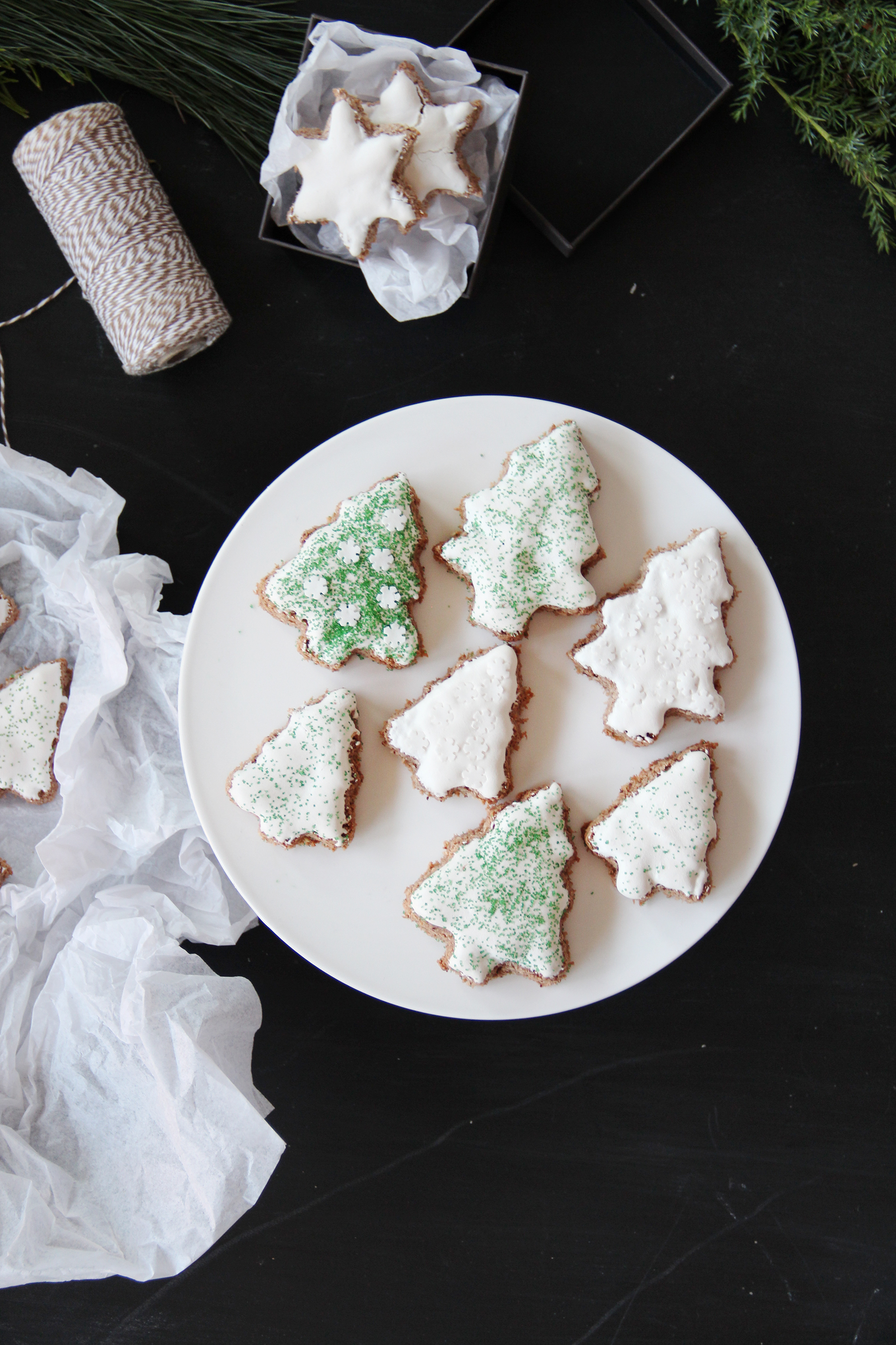 cut-out stars decorated glazed cookies