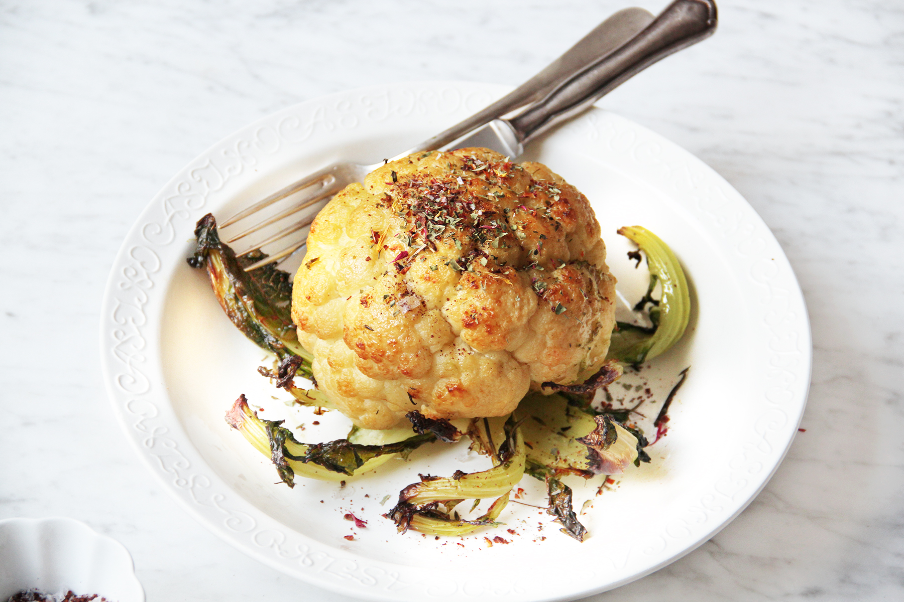 whole roasted cauliflower with herbs sumach
