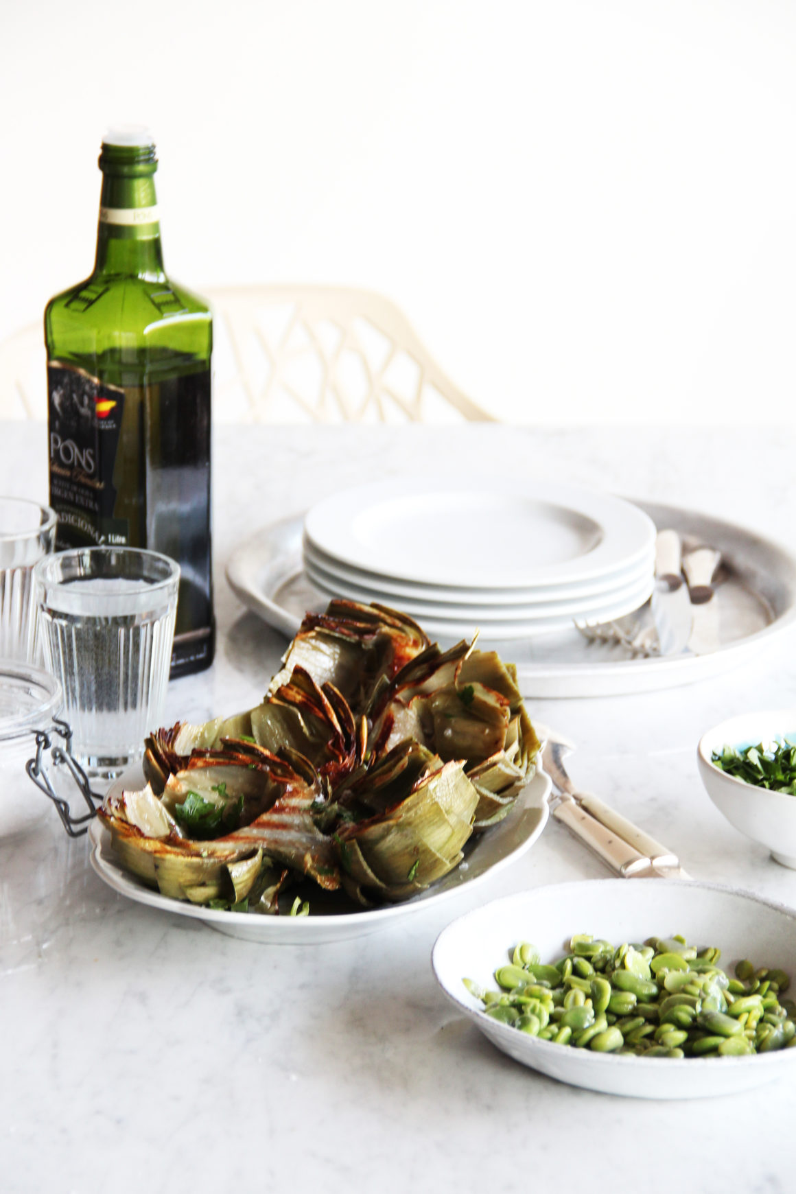 Grilled Artichokes with Fava