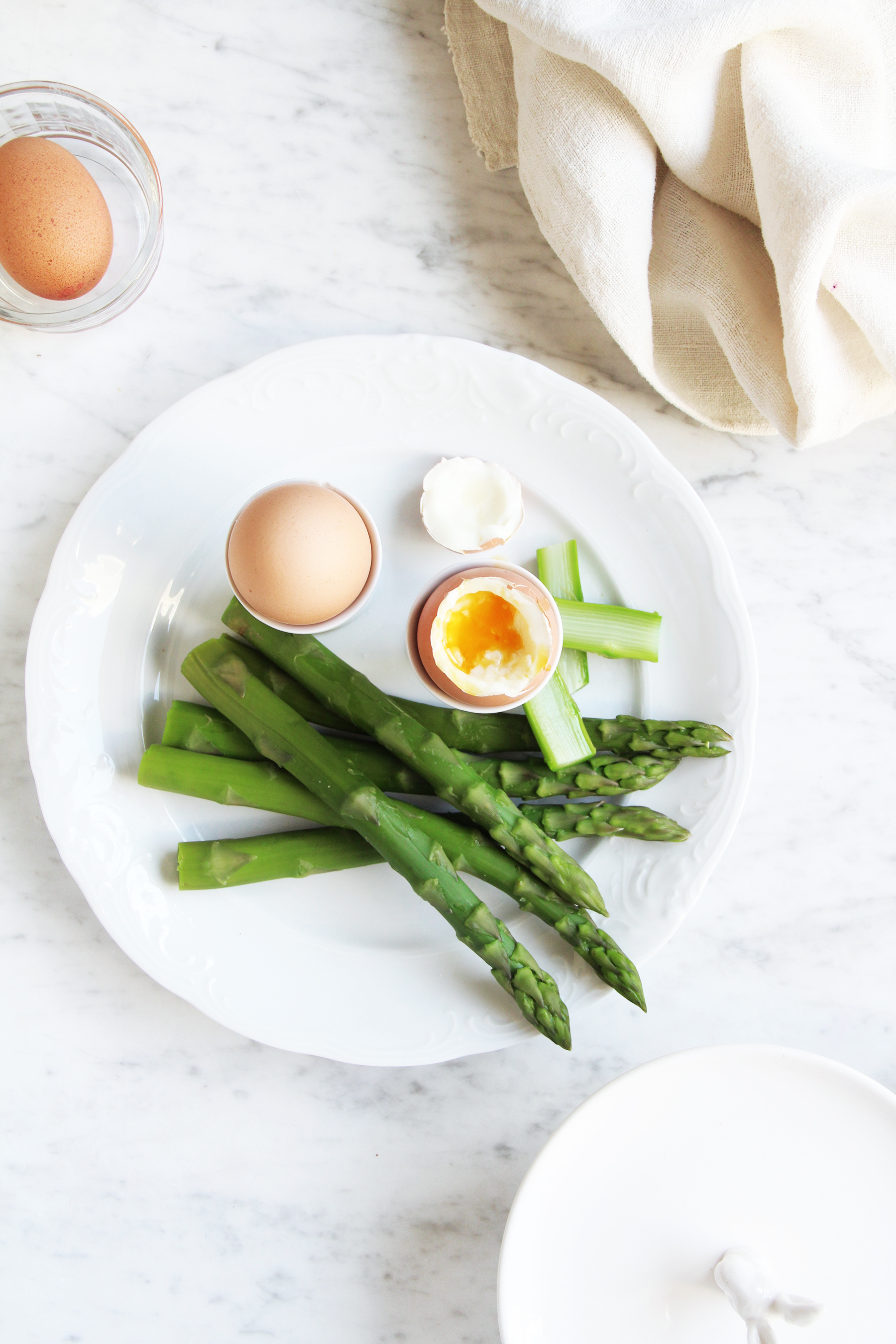 Soft Boiled Eggs W Asparagus Soldiers Fork And Flower